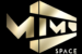 Černo zlaté logo kostýmního ateliéru MIMO Space, který vytváří unikátní kostýmy pro umělce, film a reklamu
