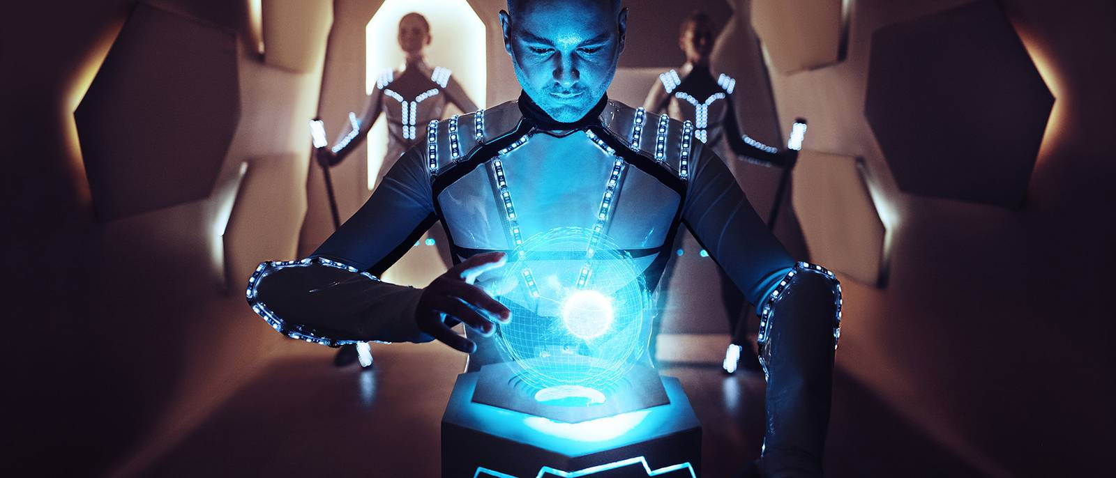 Pyroterra member posing on a photo in light show costume made by MIMO Space atelier